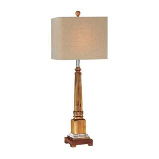 Square Natural Wood Table Lamp