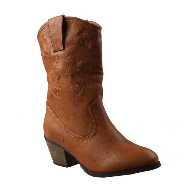 Refresh Women's 'West' Western Style Mid-calf Boots