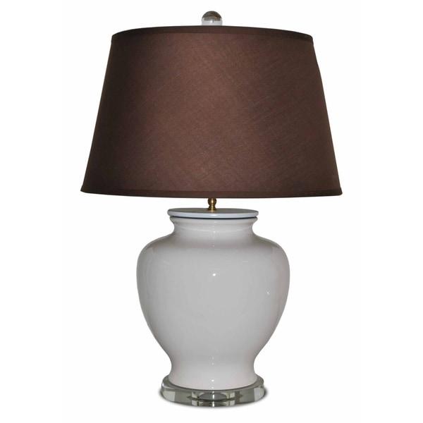 White Porcelain Round Crystal Base Lamp