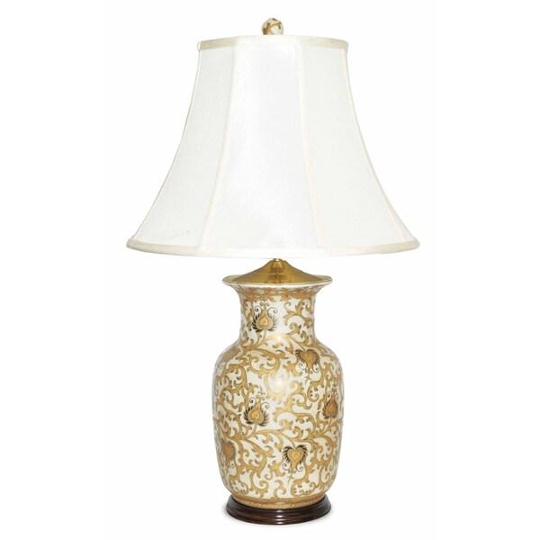Cream Round Porcelain Jar Table Lamp