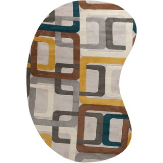 Hand-tufted Bassenge Light Grey Geometric Squares Wool Rug (8' x 10' Kidney)