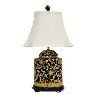 Black Arabesque Scallop Indoor Jar Porcelain Lamp