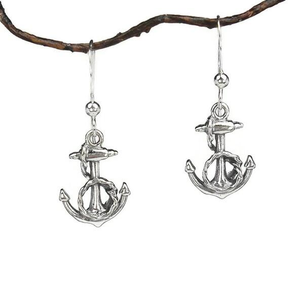 Handmade Jewelry by Dawn Sterling Silver Fancy Anchor Earrings 10505620