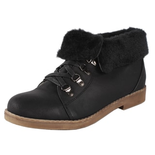 Pinky by Beston 'Quinn' Women's Black Faux-Shearling Booties