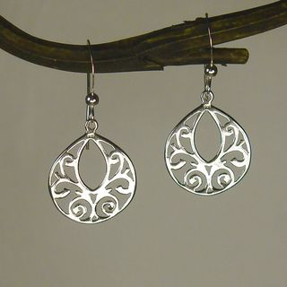 Sterling Silver Fancy Filigree Teardrop Earrings
