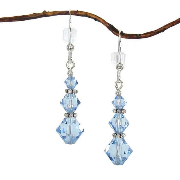 Handmade Jewelry by Dawn Sterling Silver Blue Crystal Triple Bicone Earrings 10505646