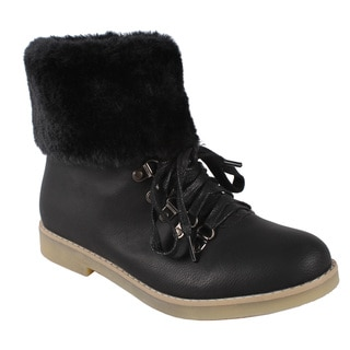 Pinky by Beston Women's Black 'Quinn' Faux-Fur Collar Ankle Boots