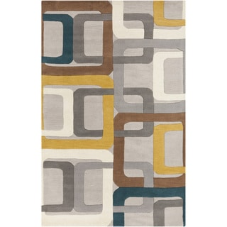 Hand-tufted Bassenge Light Grey Geometric Squares Wool Rug (8' x 11')