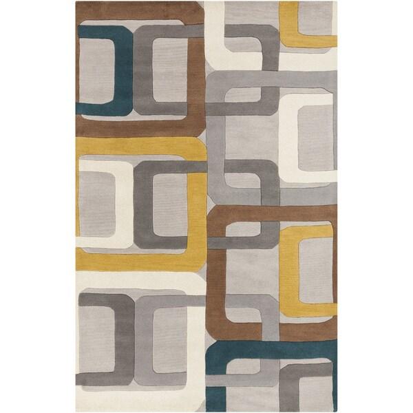 Hand-tufted Bassenge Light Grey Geometric Squares Wool Rug (8' x 11')