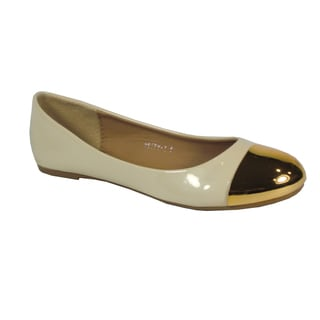 Betani Women's 'Betty' Beige Gold-cap Ballet Flats
