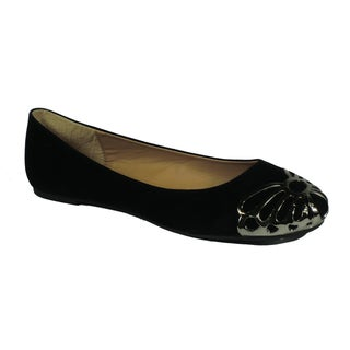 Betani by Beston Women's 'Betty' Black Metal-capped Ballet Flats