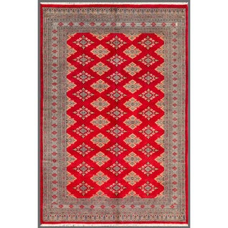 Pakistani Hand-knotted Bokhara Red/ Beige Wool Rug (5'6 x 8'1)