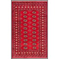 "Pakistani Hand-Knotted Bokhara Red/Ivory Geometric Wool Rug (4' x 6'2"")"