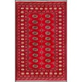Pakistani Hand-Knotted Bokhara Red/Ivory Traditional Wool Rug (4' x 6'3)