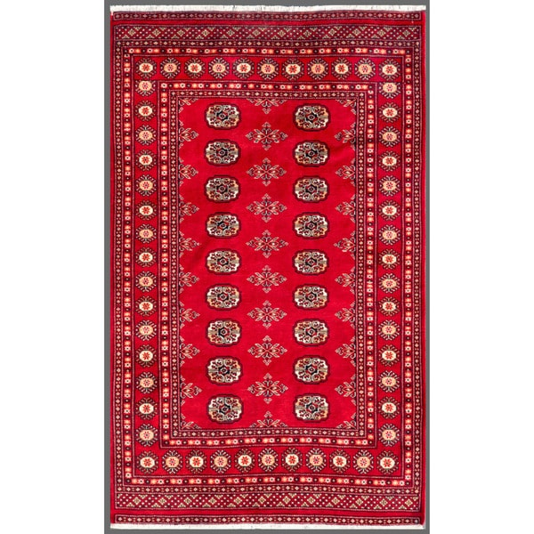 Pakistani Hand-knotted Bokhara Red/ Ivory Wool Rug (4' x 6'6)