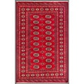 Pakistani Hand-knotted Bokhara Red/ Ivory Wool Rug (4' x 6'2)