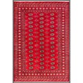 Pakistani Hand-knotted Bokhara Red/ Ivory Wool Rug (5'7 x 7'10)