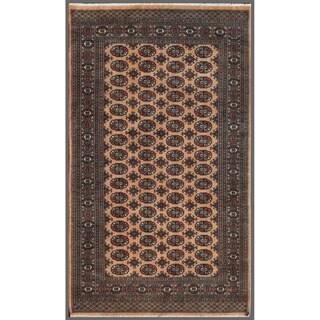 Pakistani Hand-knotted Bokhara Ivory/ Black Wool Rug (5' x 8'4)