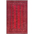 Pakistani Hand-knotted Bokhara Red/ Ivory Wool Rug (5'3 x 8'2)