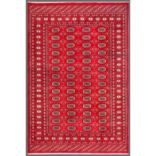 Herat Oriental Pakistani Hand-knotted Bokhara Red/ Ivory Wool Rug (5'5 x 7'11)