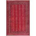 Pakistani Hand-knotted Bokhara Red/ Ivory Wool Rug (5'6 x 8'2)