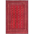 "Pakistani Hand-Knotted Bokhara Traditional Red/Ivory Wool Rug (6' x 8'10"")"