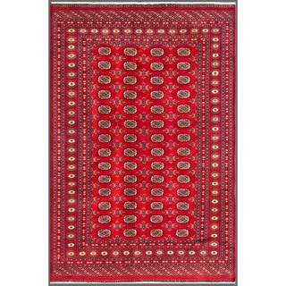 Pakistani Hand-Knotted Bokhara Traditional Red/Ivory Wool Rug (6' x 8'10