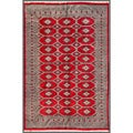 Pakistani Hand-knotted Bokhara Red/ Beige Wool Rug (6'1 x 8'8)