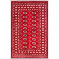 Pakistani Hand-Knotted Bokhara Red/Ivory Traditional Wool Rug (4'1 x 6'2)