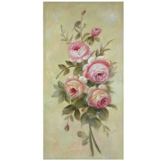 Hand-Painted Rustic Roses in Bloom Canvas Art (China)