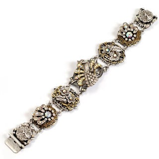 Sweet Romance Two-tone Crystal Peacock Bracelet