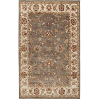 Hand-knotted Tok Brown Wool Rug (5' x 8')