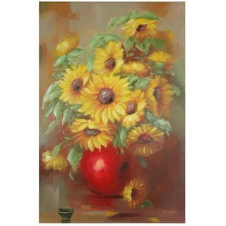 Hand-Painted Sun Flowers Still Life Canvas Art (China)