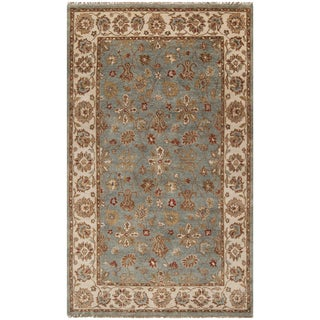 Hand-knotted Deltana Blue Wool Rug (5' x 8')