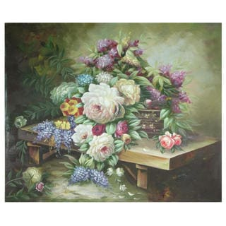 Hand-Painted Table Floral Bouquet Canvas Art (China)