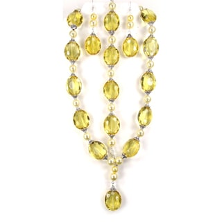 Silverplated Yellow Crystal and Faux Pearl Jewelry Set