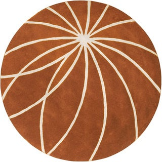 Hand-tufted Beauraing Carmine Floral Wool Rug (9'9 Round)