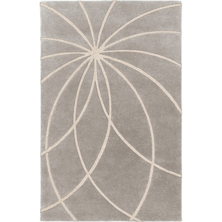 Hand-tufted Beernem Dove Grey Floral Wool Rug (7'6 x 9'6)