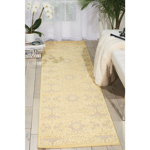 Graphic Illusions Damask Yellow Cream Runner Rug (2'3 x 8')