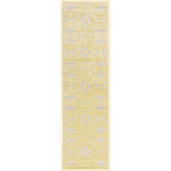 Graphic Illusions Damask Yellow Cream Runner Rug (2'3 x 8')