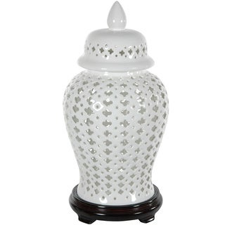 Porcelain 16-inch Carved Lattice Decorative Temple Jar (China)
