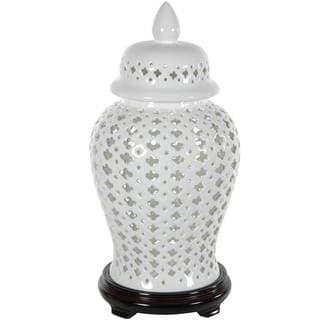 "Handmade 16"" Porcelain Carved Lattice Decorative Temple Jar"