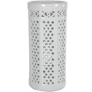 Dolomite 17-inch Carved Lattice Decorative Umbrella Stand (China)
