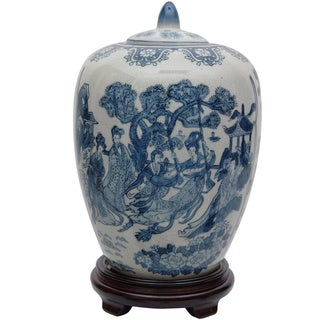 Porcelain 11-inch Blue and White Ladies Vase Jar (China)