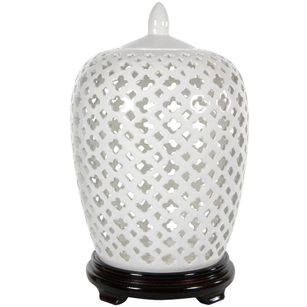 Dolomite 12-inch Carved Lattice Decorative Vase Jar (China)