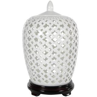 Handmade Dolomite 12-inch Carved Lattice Decorative Vase Jar (China)