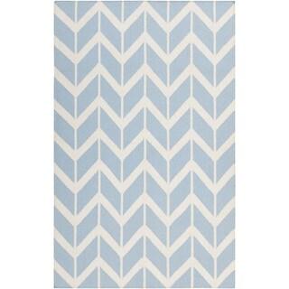Handwoven Kivalina Blue Wool Rug (2' x 3')