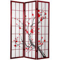 Cherry Blossom 6-foot Shoji Screen Rosewood (China)