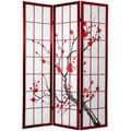 Cherry Blossom 6-foot Shoji Screen Rosewood (China)