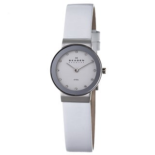 Skagen Women's Stainless-Steel Crystal Watch with Leather Strap